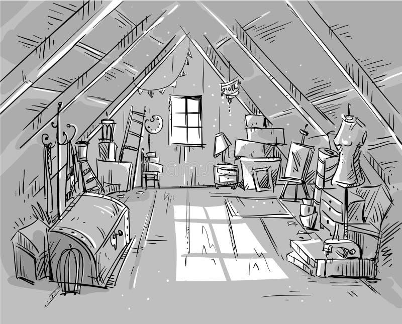 Alter Dachboden, Vektorillustration vektor abbildung