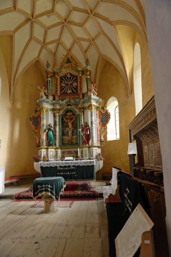 Alter in Darjiu fortified church, Transylvania, Romania stock photos