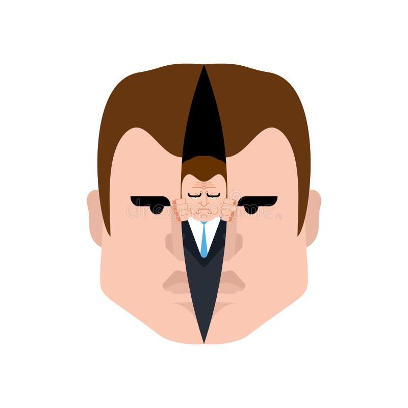 Alter ego dans la tête Monstre mauvais d'alter ego à l'intérieur Peau coupée de visage Secondez-moi illustration de vecteur