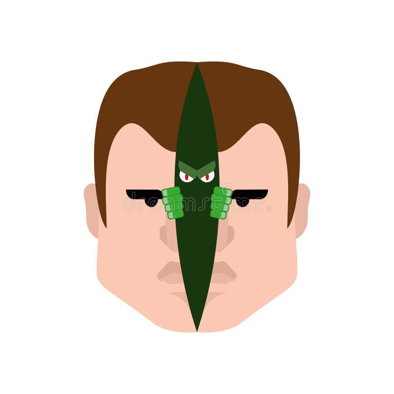 Alter ego dans la tête Monstre mauvais d'alter ego à l'intérieur Peau coupée de visage Secondez-moi illustration stock