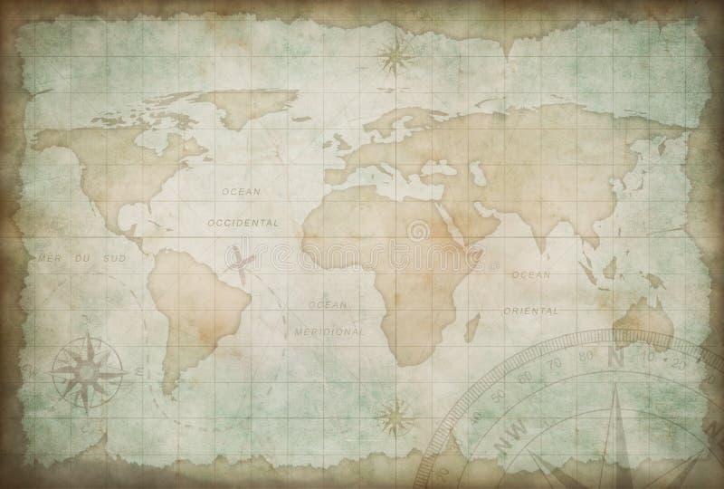 Alter Erforschungs- und Abenteuerkartenhintergrund stock abbildung
