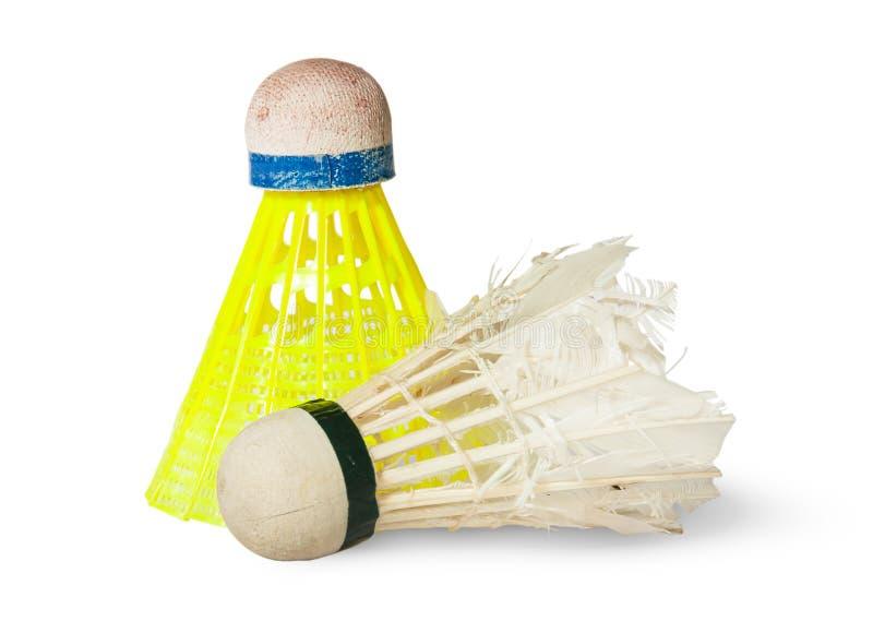Alter Federball des Badminton-zwei lizenzfreie stockbilder