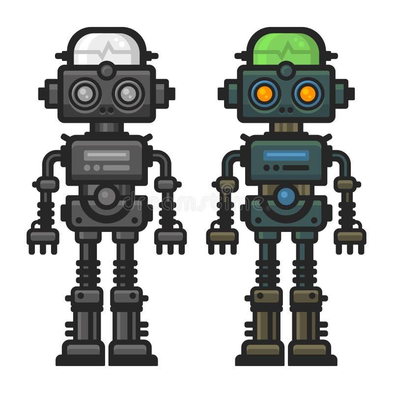 Alter flacher Art-Roboter eingestellt auf weißen Hintergrund Vektor lizenzfreie abbildung