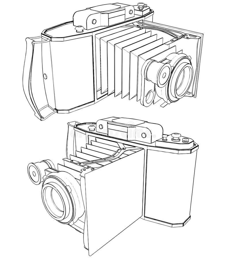 Alter fotographische Kamera-Vektor 02 lizenzfreie abbildung