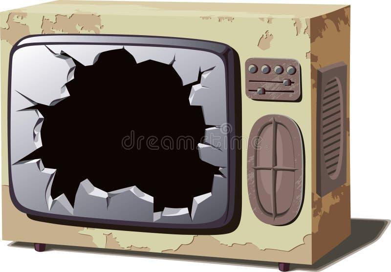 Alter gebrochener Fernseher lizenzfreie abbildung