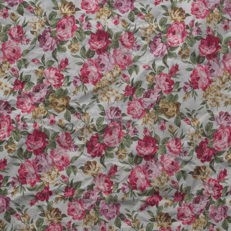 Alter geknitterter Papierweinleseblumenhintergrund von Rosen stock abbildung