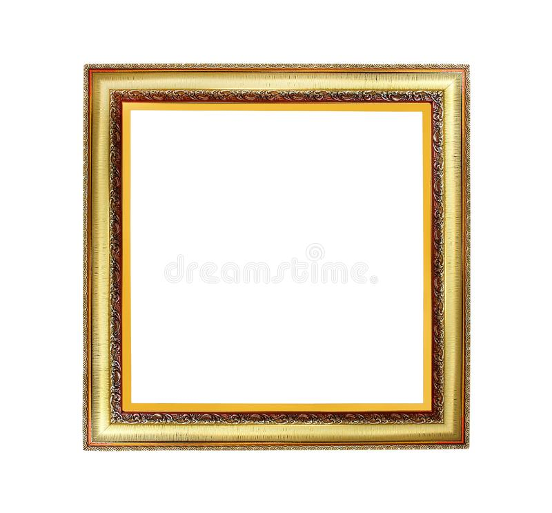 Alter goldener Rahmen mit vielen Schichtmustern lokalisiert auf weißem Hintergrund und Beschneidungspfad stock abbildung