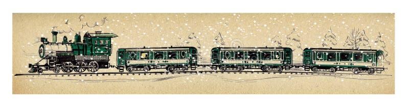 Alter grüner Dampfzug und drei Autos unter fallendem Schnee in einem schneebedeckten Wald, der einen Kugelschreiber und einen Fil vektor abbildung