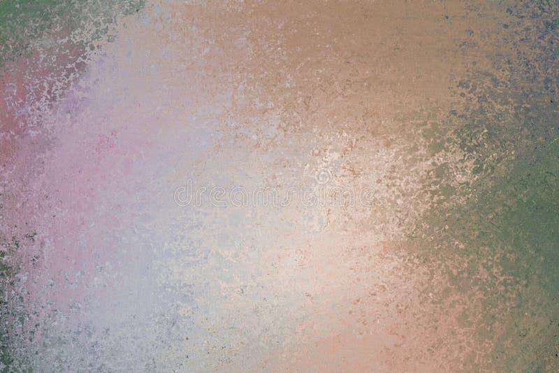 Alter grüner rosa orange brauner und grauer Papierhintergrund, dunkle Farbschmutz beunruhigte Weinlese Texturgrenzpfirsichpurpur stock abbildung