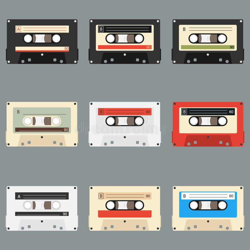 Alter grauer Hintergrund der Audiokassetten Sammlung Vektorretro- Audiokassetten Satz verschiedene bunte Musikbänder vektor abbildung