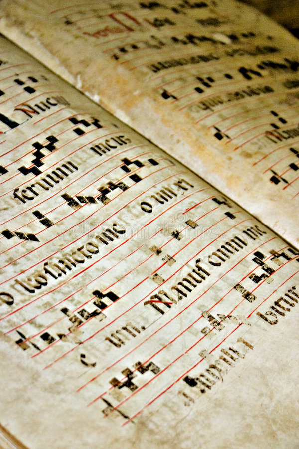 Alter gregorianischer Text stockfoto