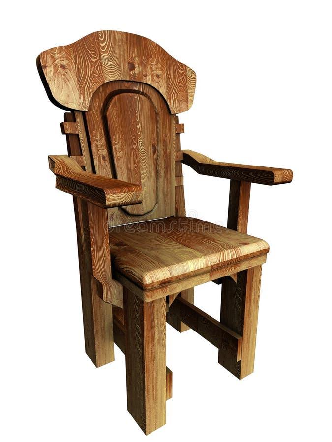 Alter hölzerner stilvoller Stuhl. Abbildung 3d. vektor abbildung