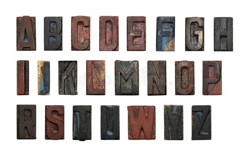 Alter hölzerner Typ Alphabet stockfotos