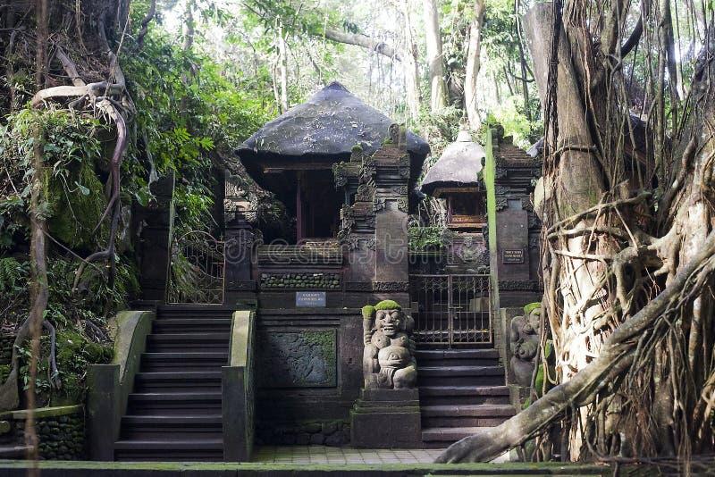 Alter heiliger Frühlings-Tempel im Ubud-Affewald, Bali lizenzfreie stockfotos