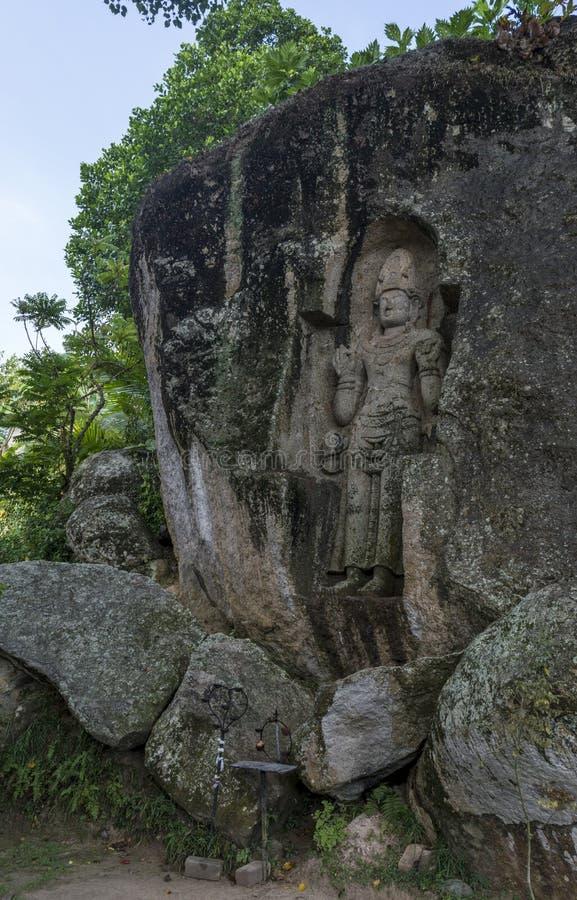Alter heiliger geschnitzter Skulptur Felsen des Aussätzig-Königs stockfotografie