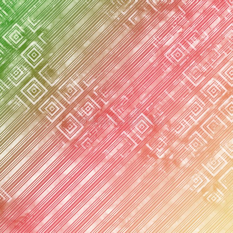 Alter Hintergrund, Im Artschmutz, Beige Rosa Und Grün Weinlesetapete Mit  Der Hellen Geometrischen Zeichnung, Den Streifen Und Den Rauten