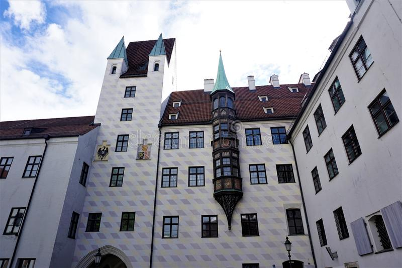 Alter Hof in Munich with rebuilt gothic facade. Alter Hof in Munich with nicely rebuilt gothic facade royalty free stock photo