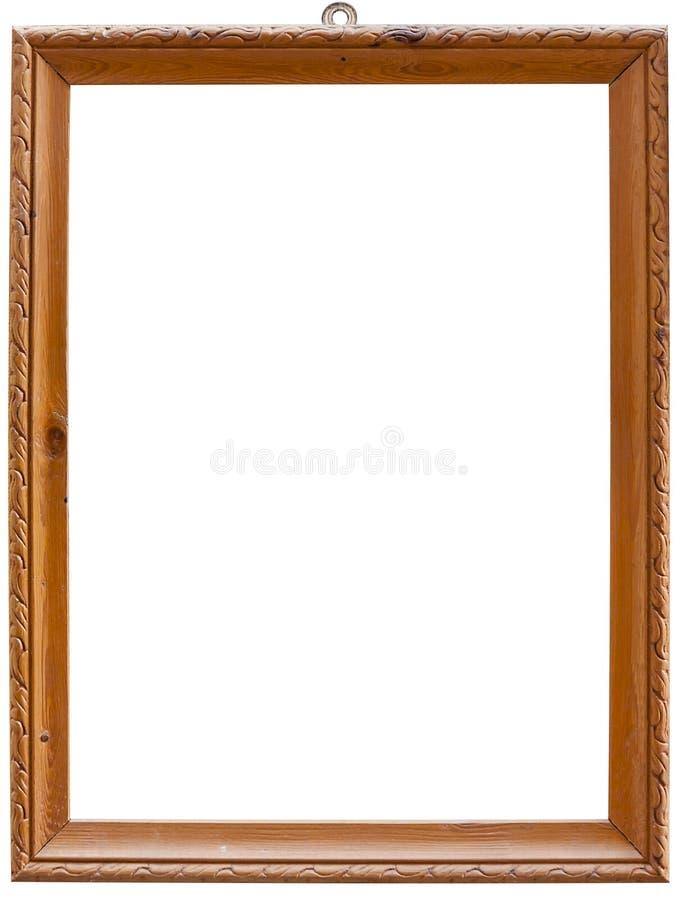 Alter Holzrahmen, auf weißem Boden isoliert mit Klippenweg lizenzfreies stockfoto