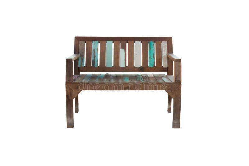Alter Holzstuhl oder Bank für Sitzplätze im Freien oder Innengebrauch lokalisiert auf weißem Hintergrund stockfotos