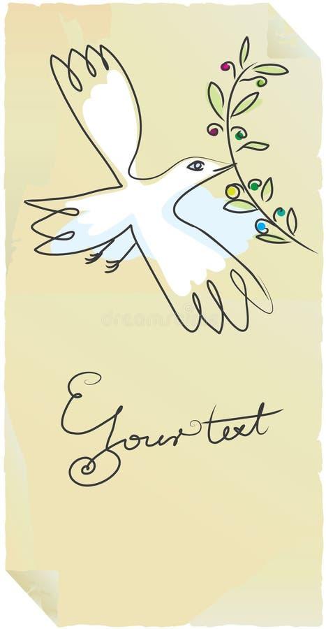 Alter Kennsatzfriedensvogel mit Olive lizenzfreie abbildung