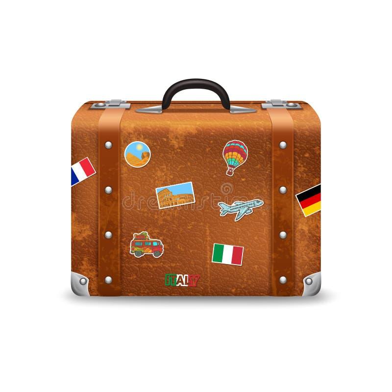 Alter Koffer mit Reise-Aufklebern vektor abbildung