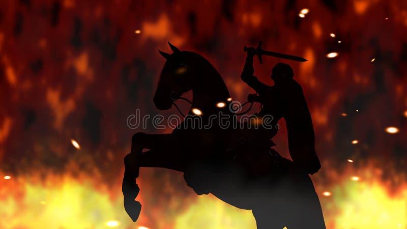 Alter Krieger auf einer Errichtungspferde-Digital-Illustration stock abbildung