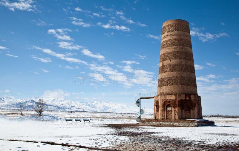 Alter Kyrgyz Burana Kontrollturm stockbild