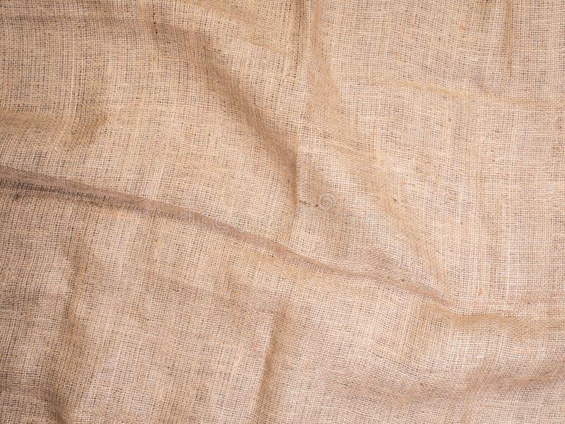 Alter ländlicher Leinwandweinlesehintergrund, Draufsicht des Fotos Grobes Sackzeug, Rausschmissbeschaffenheit, Hintergrund für Ih stockbild