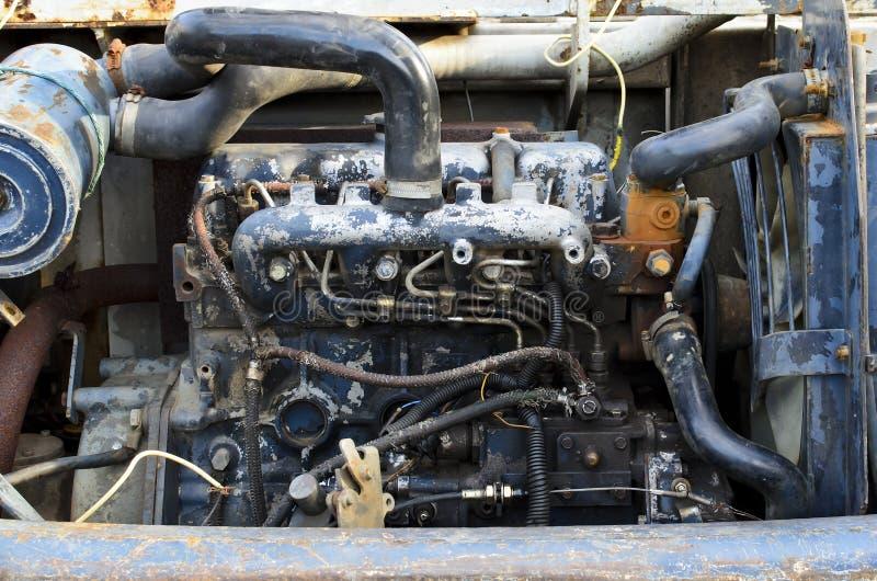 Alter Löffelbagger-Motor stockfoto