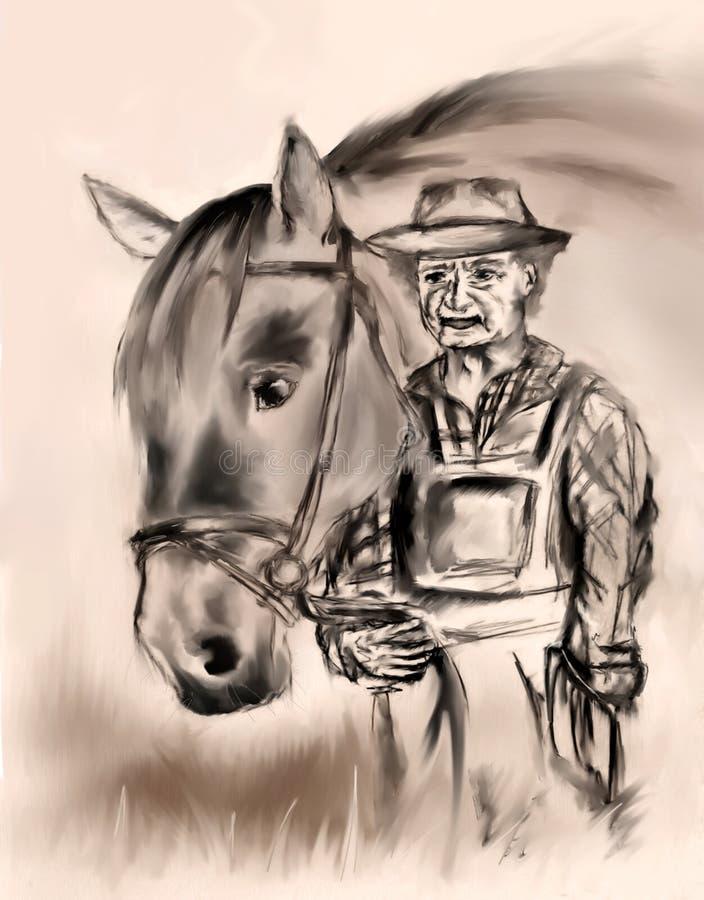 Alter Landwirt mit einem Pferd