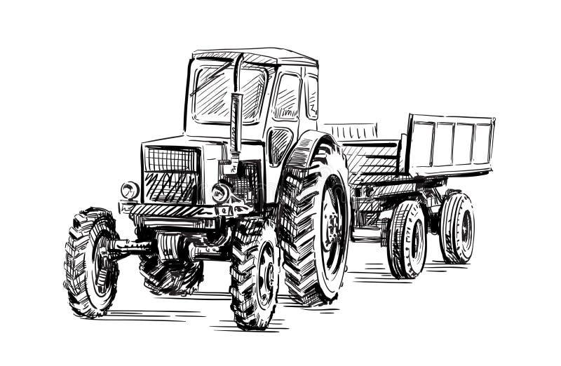 Alter landwirtschaftlicher Traktor des Rades lizenzfreie abbildung