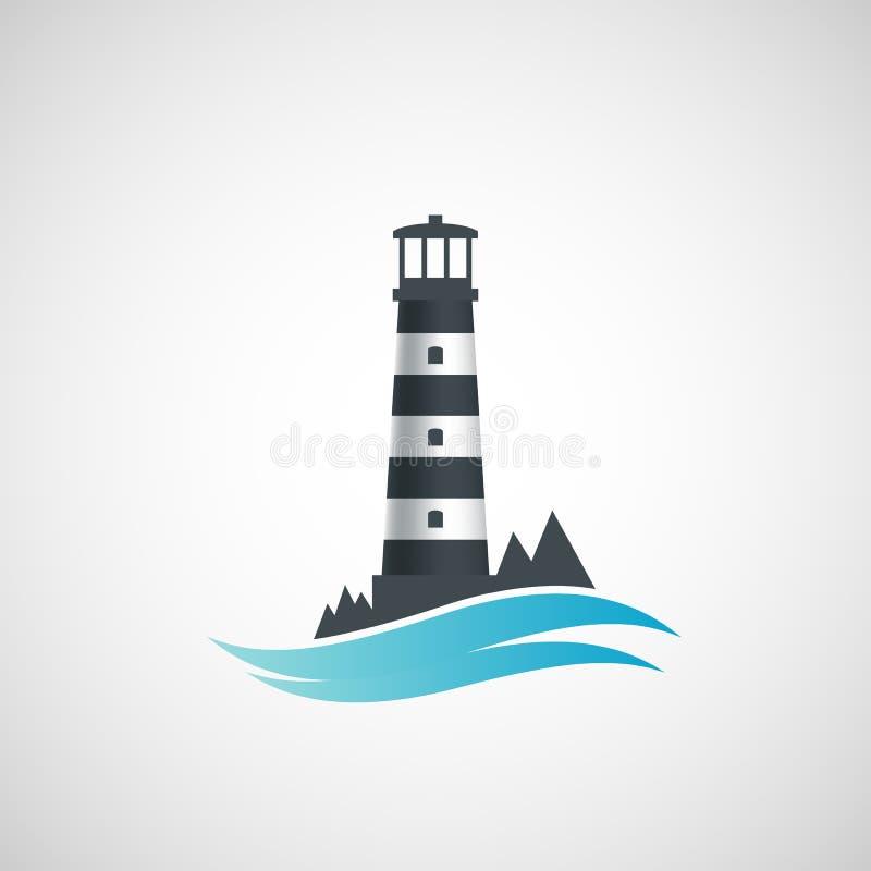 Alter Leuchtturm des Logos lizenzfreie abbildung