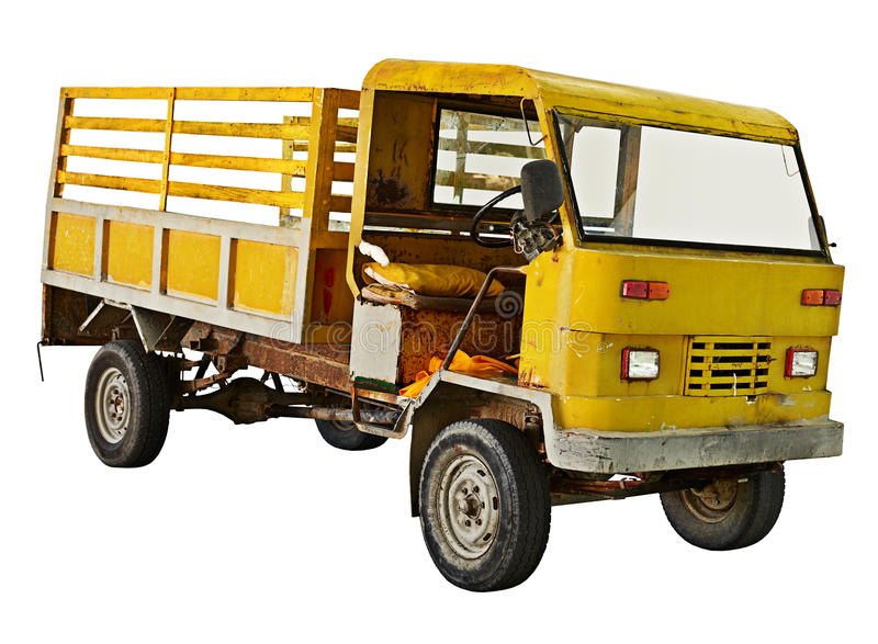 Alter LKW auf weißem Hintergrund stockfotos