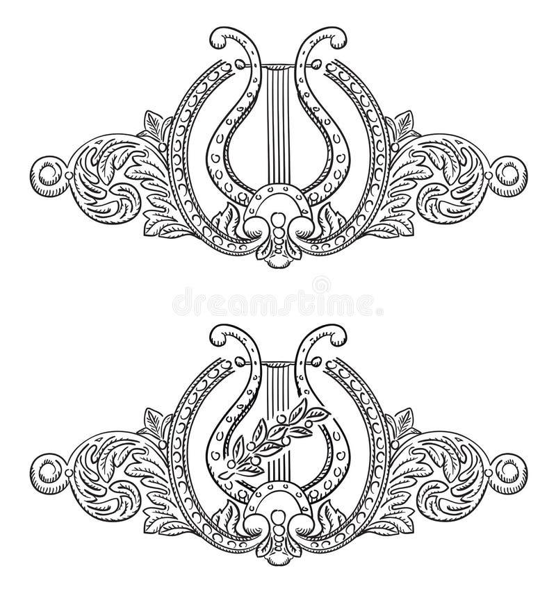 Alter Lyre und dekorative Elemente. stock abbildung