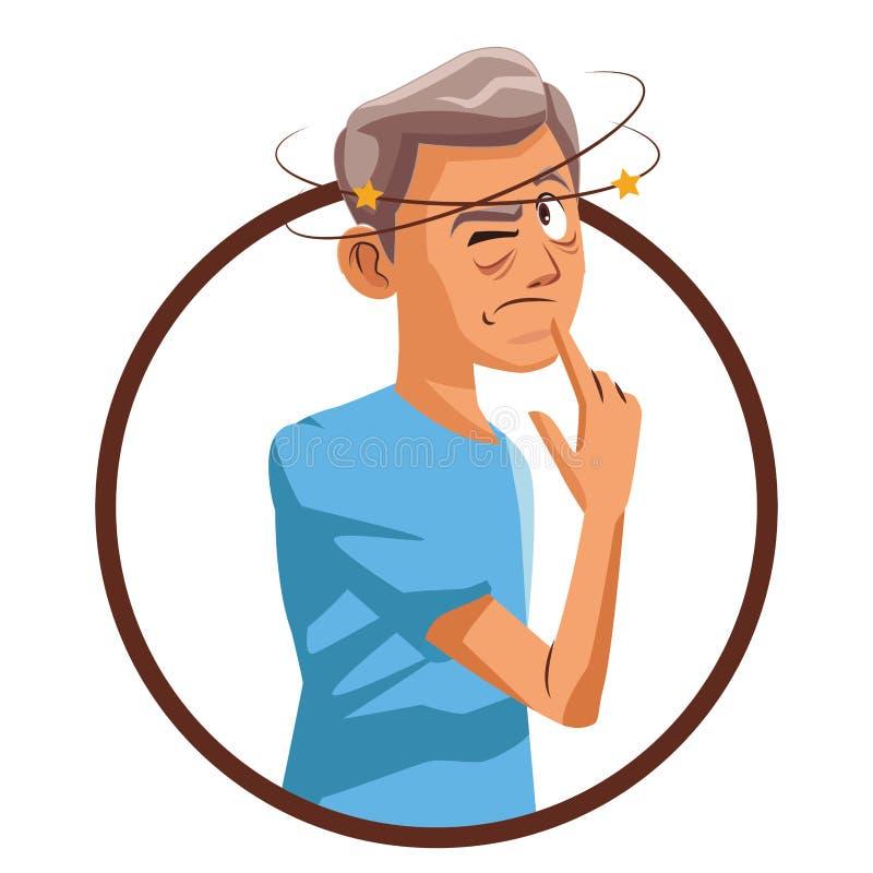 Alter Mann Alzheimer vektor abbildung