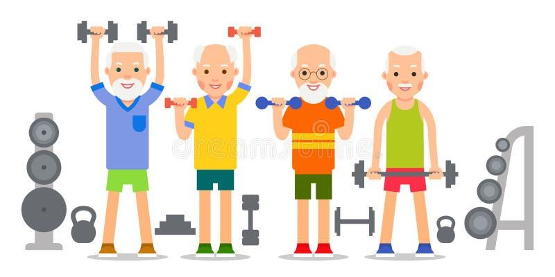 Alter Mann, der Übungen mit dumbells und kettlebell tut pensionäre lizenzfreie abbildung