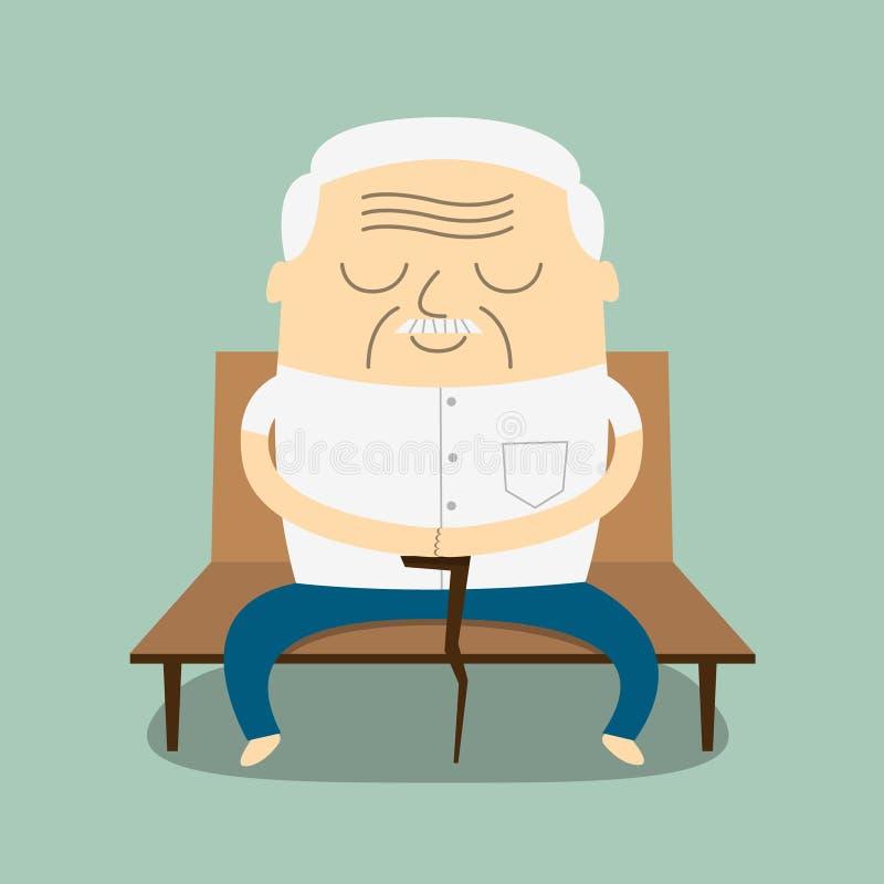 Alter Mann der Karikatur, der auf Bank sitzt lizenzfreie abbildung