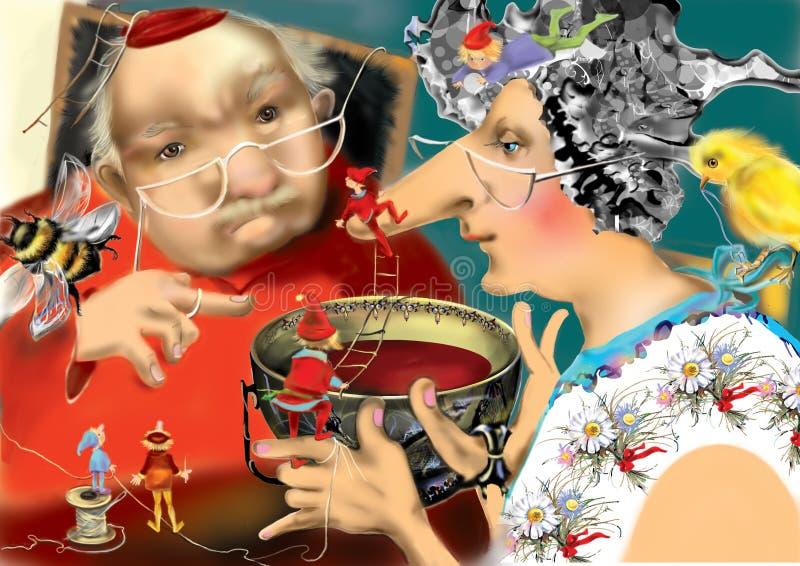 Alter Mann, der mit einem trinkenden Tee der alten Frau von einer enormen Teetasse spricht stockbild