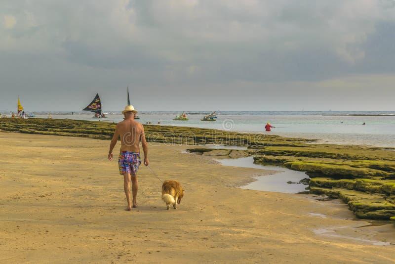 Alter Mann, der mit seinem Hund am Strand geht stockbild