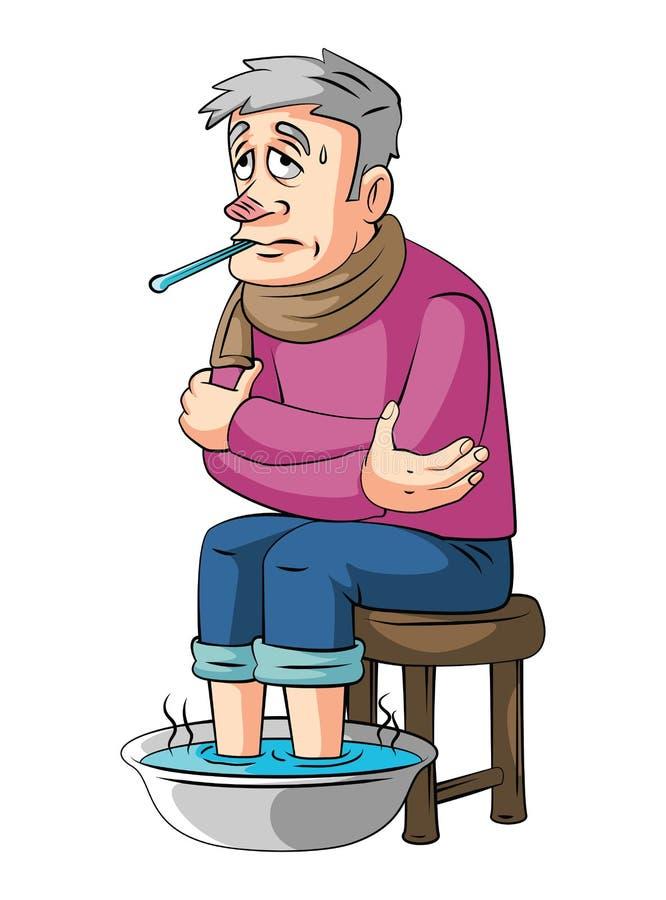 Alter Mann des Fiebers lizenzfreie abbildung