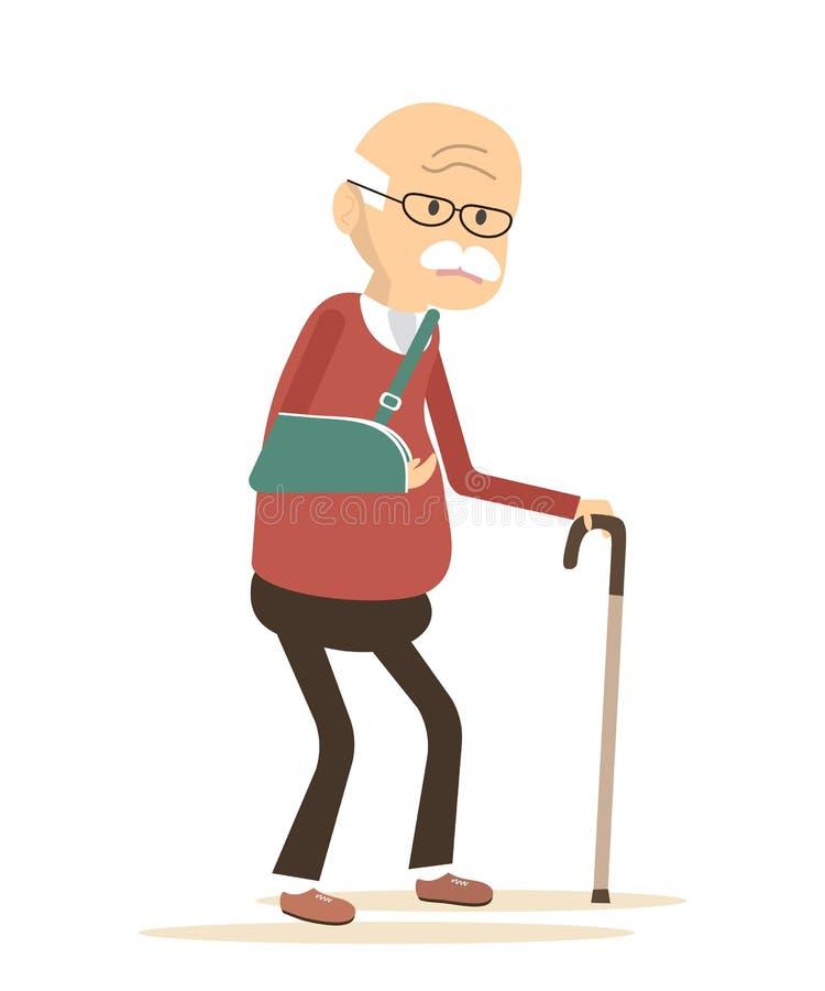 Alter Mann mit dem gebrochenen Arm stock abbildung