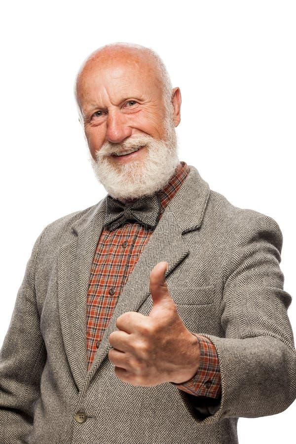 Alter Mann mit einem großen Bart und einem Lächeln lizenzfreie stockfotografie