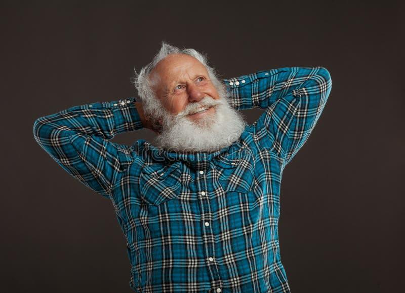 Alter Mann mit einem langen Bart mit großem Lächeln lizenzfreies stockbild