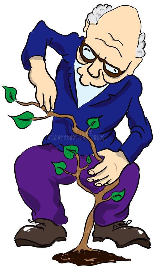 Alter Mann mit einer Anlage stock abbildung