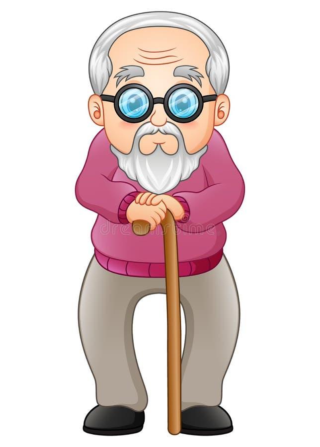 Alter Mann mit gehendem Steuerknüppel lizenzfreie abbildung