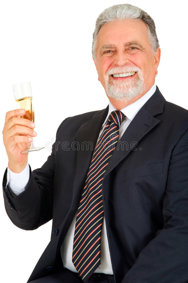Alter Mann mit Glas Champagner stockfotografie