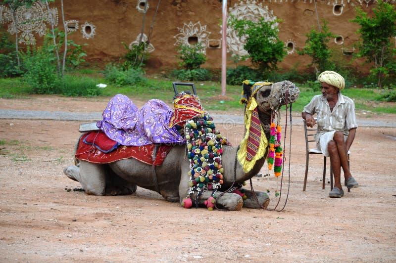 Alter Mann mit seinem Kamel stockbild