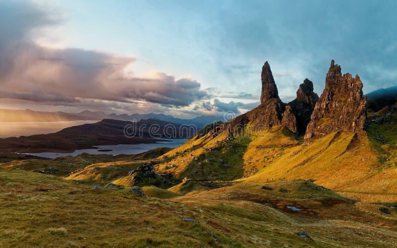 Alter Mann von Storr, schottische Hochländer stockfoto