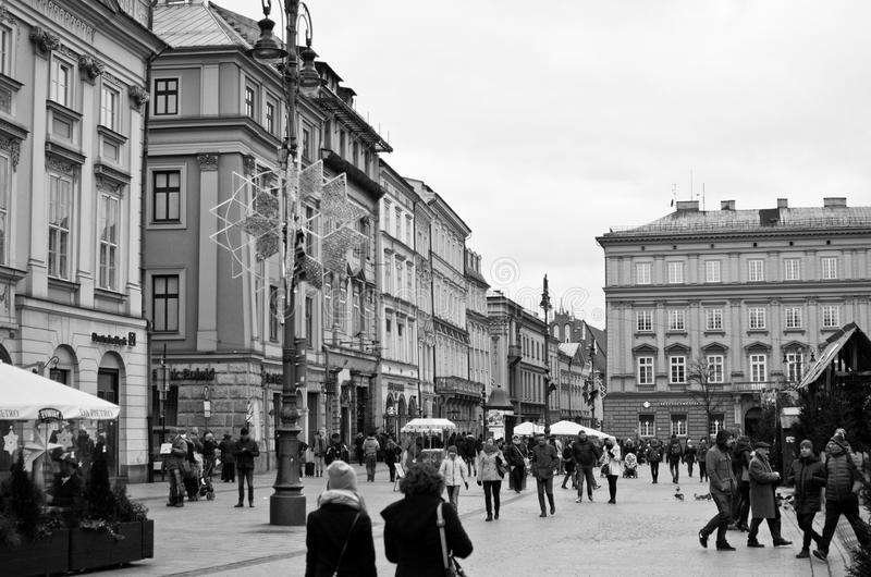 Alter Marktplatz in Krakau Polen lizenzfreies stockbild