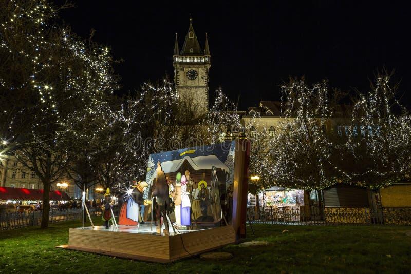 Alter Marktplatz zur Weihnachtszeit, Prag, Tschechische Republik stockbild